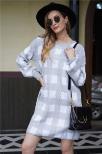 Fall White and Grey Plaid Knitted Dress