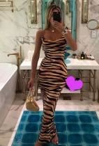 Abito lungo sexy con cinturino con stampa Tiger