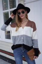 Fall Button Up Contrast Knitted Coat