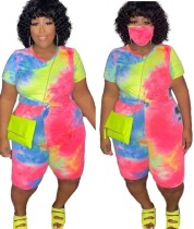 Plus Size Summer Tie Dye Two Piece Shorts Set with Face Cover