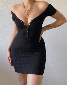 Sexy Plain Knitted Button Up Mini Dress
