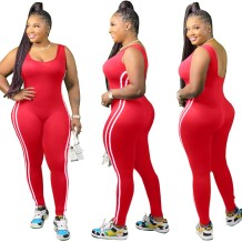Plus Size Sports Sleeveless Fitness Jumpsuit