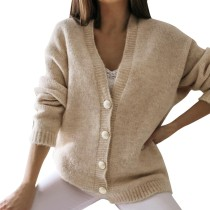 Fall Plain Button Up Knitted Coat