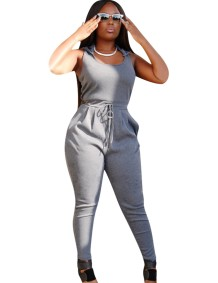 Casual Drawstring Sleeveless Hoody Jumpsuit