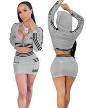 Set di minigonne e minigonna metallizzate grigio autunno