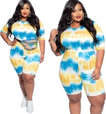 Plus Size Summer Tie Dye Bodycon Rompers
