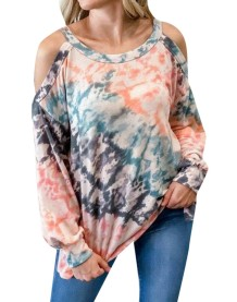 Fall Tie Dye Halter Shirt with Sleeves