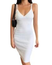 Vestido midi con correa de punto blanco de otoño