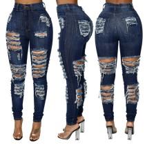 Jeans strappati stretti a vita alta blu