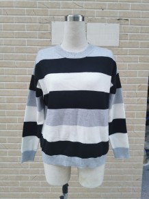 Autumn Long Sleeve Wide Striped Loose Sweater