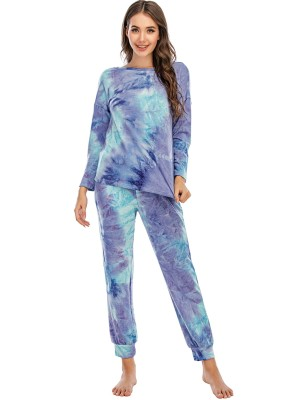 Autumn Two Piece Tie Dye Pants Pajama Set