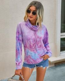 Autumn Tie Dye Turndown Kragen Sweat Shirt