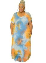 Plus Size Summer Tie Dye Tasche langes Kleid