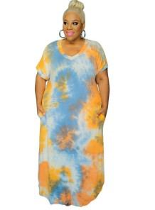 Plus Size Summer Tie Dye Pocket Long Dress