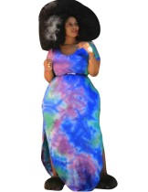 Plus Size Summer Tie Dye Slit Langes Kleid