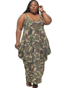Plus Size Summer Camou Strap Loose Jumpsuit