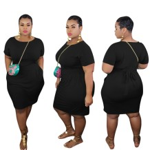 Plus Size Summer Plain Bodycon Dress