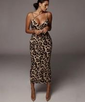 Abito midi con cinturino elegante stampa leopardo