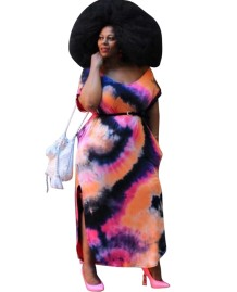 Plus Size Summer Tie Dye Slit Long Dress