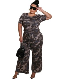 Plus Size Summer Camou Jumpsuit