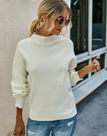 Autumn Round Neck Knitted Plain Top