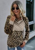 Autumn Leopard Print Plush Pullover