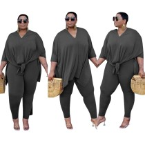 Set di pantaloni a due pezzi tinta unita casual