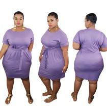 Plus Size Summer Plain Bodycon Kleid