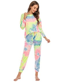 Autumn Two Piece Tie Dye Pants Pajama Set