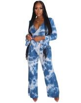 Conjunto de pantalones de dos piezas con efecto tie dye y otoño