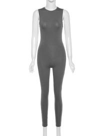 Sexy Plain Sleeveless Bodycon Jumpsuit