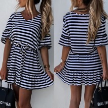 Summer V-Neck Striped Casual Skater Dress