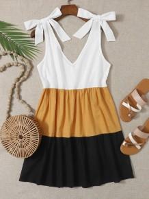 Summer Contrast V-Neck Knotted A-line Dress