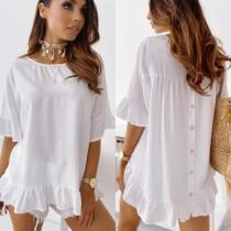 Zomer witte en zwarte stip onregelmatige lange jurk