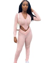 Fall Sexy Zipper Crop Top und Stacked Legging Set