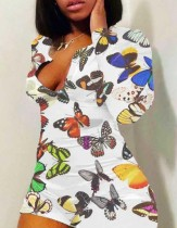 Mamelucos bodycon de manga larga con mariposa sexy