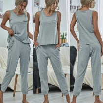 Summer Grey Tank Top und Pants Lounge Set