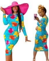 Robe midi à manches longues à fleurs africaines