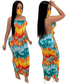 Sexy Tie Dye Halter Long Curvy Dress with Face Cover