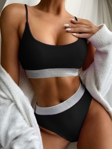 Two Piece Simple High Waist Strap Swimwear