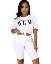Sommer Casual Print Shirt und Plain Shorts Set