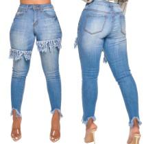Blue Tassels Tight Jeans de cintura alta