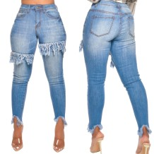 Blue Tassels Tight High Waist Jeans
