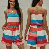 Zomer kleurrijke gestreepte rompertjes Pyjama