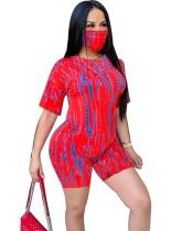 Conjunto de shorts de verano de dos piezas Tie Dye con cubierta facial