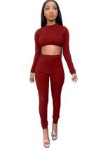 Conjunto de leggings de cintura alta y top corto de punto liso de otoño