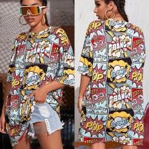 Summer Cartoon Print Hippie Shirt Dress