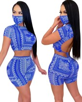 Conjunto de pantalones cortos de dos piezas con estampado a juego de verano con cubierta facial