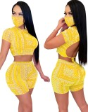Summer Matching Two Piece Print Shorts Set with Face Cover