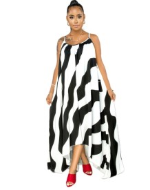 Plus Size Summer Striped High Low Long Dress